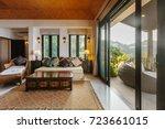 tropical luxury villa interior  ...   Shutterstock . vector #723661015
