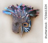 photo of a shamanic ethnic mask....   Shutterstock . vector #723661324