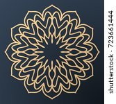 laser cutting mandala. golden... | Shutterstock .eps vector #723661444