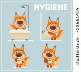 set of funny squirrel is... | Shutterstock .eps vector #723661459