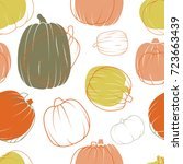 seamless pattern with pumpkins... | Shutterstock .eps vector #723663439