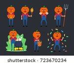 set of halloween pumpkin... | Shutterstock .eps vector #723670234