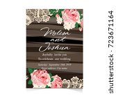 set of wedding invitations and... | Shutterstock . vector #723671164