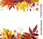 autumn season vector floral... | Shutterstock .eps vector #723672439