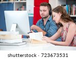 young college students at the... | Shutterstock . vector #723673531
