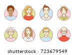 round avatars of women and men. ... | Shutterstock .eps vector #723679549