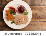 foie gras gingerbread and jelly ... | Shutterstock . vector #723683041