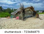 fishing hut tropic.beach and... | Shutterstock . vector #723686875
