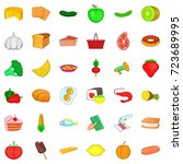 broccoli icons set. cartoon... | Shutterstock .eps vector #723689995