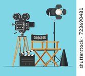 movie camera with film reels ... | Shutterstock .eps vector #723690481