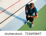 top view of a young african... | Shutterstock . vector #723690847