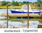moored fishing boat at...