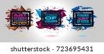 futuristic frame art design... | Shutterstock . vector #723695431