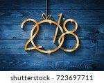 2018 happy new year seasonal... | Shutterstock . vector #723697711