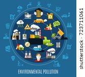 environmental pollution concept ... | Shutterstock .eps vector #723711061