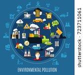 environmental pollution concept ... | Shutterstock .eps vector #723711061