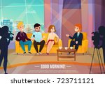 talk show flat poster with... | Shutterstock .eps vector #723711121