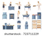 bakery set of cartoon icons... | Shutterstock .eps vector #723711229