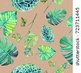 hand drawn green leaf seamless... | Shutterstock . vector #723711445