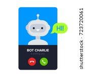 bot calling to user. cute... | Shutterstock .eps vector #723720061