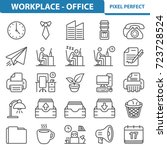 workplace and office icons.... | Shutterstock .eps vector #723728524