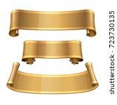 blank scrolls of gold paper... | Shutterstock . vector #723730135