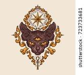 black sphinx cat head with...   Shutterstock .eps vector #723733681
