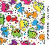 Stock vector seamless pattern cute dinosaurs 72374041