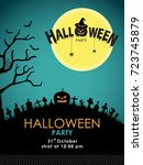 halloween party background | Shutterstock .eps vector #723745879