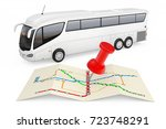 bus stations map with red push... | Shutterstock . vector #723748291