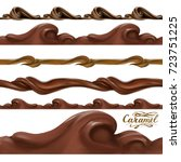 liquid chocolate  caramel or... | Shutterstock .eps vector #723751225