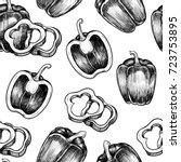 peppers. vector seamless... | Shutterstock .eps vector #723753895