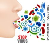 stop virus poster with... | Shutterstock .eps vector #723764887