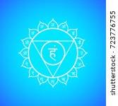 fifth vishuddha throat chakra... | Shutterstock . vector #723776755