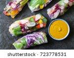 vegetarian rice paper rolls... | Shutterstock . vector #723778531