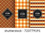 autumn seamless patterns.... | Shutterstock .eps vector #723779191