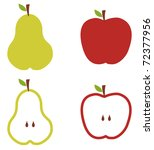 Apple and pears pattern silhouettes over white background. - stock photo