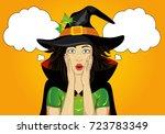 Halloween. Beautiful Woman In...