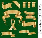 golden ribbon tape banner flag...