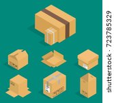 different box vector isometric... | Shutterstock .eps vector #723785329