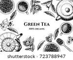 vector frame with green tea. ... | Shutterstock .eps vector #723788947