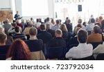 speaker giving a talk in... | Shutterstock . vector #723792034