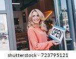 beautiful happy cafe owner...   Shutterstock . vector #723795121