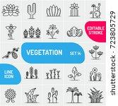 vegetation line icons. large... | Shutterstock .eps vector #723805729