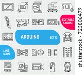 arduino line icons. electronics ... | Shutterstock .eps vector #723806479