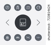 set of 9 travel outline icons... | Shutterstock .eps vector #723814624