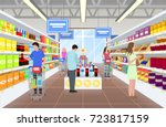 people at the supermarket in... | Shutterstock .eps vector #723817159