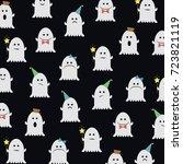 halloween pattern with cute... | Shutterstock .eps vector #723821119