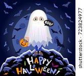 happy halloween. boy in...   Shutterstock .eps vector #723824977