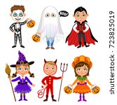 set of cute cartoon children in ... | Shutterstock .eps vector #723825019